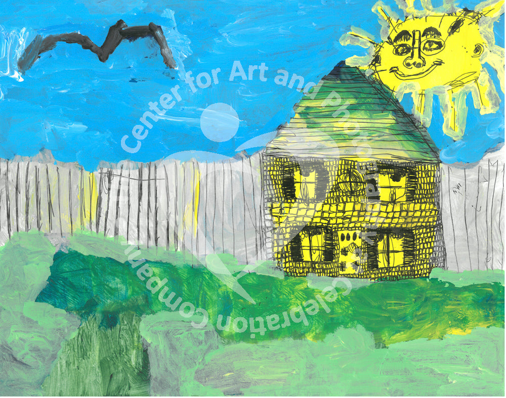 A two-story yellow house with a peaked roof is right of center with a gray fence of horizontal boards extending on either side and a green lawn in front. Above and to the left, a black bird flies, while above to the right a yellow sun with a human face and glasses smiles.