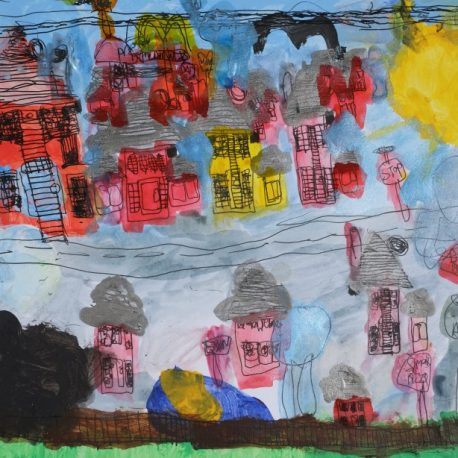 Acrylic on paper artwork of railroad tracks bisecting two sets of homes in pink, orange, red, and yellow colors with gray rooves.  A sun shines from the top right corner and a brown fence runs along the bottom