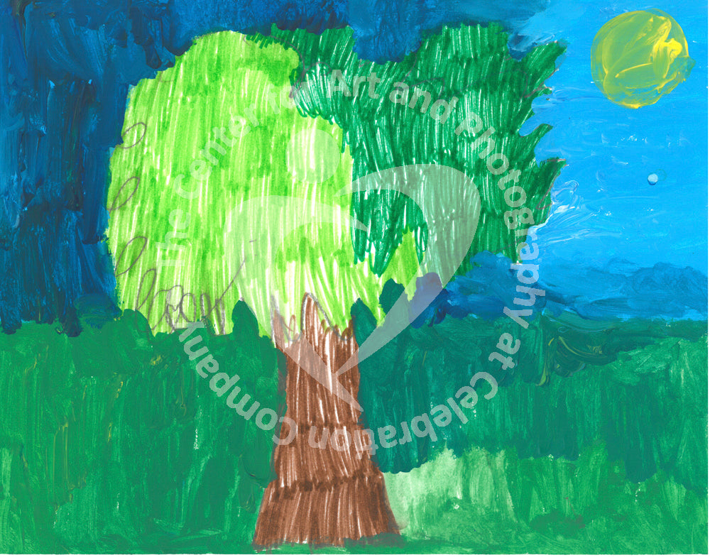 Out of a field of green a brown tree trunk rises. The leaves on the left half of the tree's top are a bright yellowish-green, while the leaves on the right are dark green. The sky behind is dark blue on the left two-thirds and lighter blue on the right third. Near the upper right corner is a green circle whose color is between the green shades of the tree leaves. This circle may represent the sun.