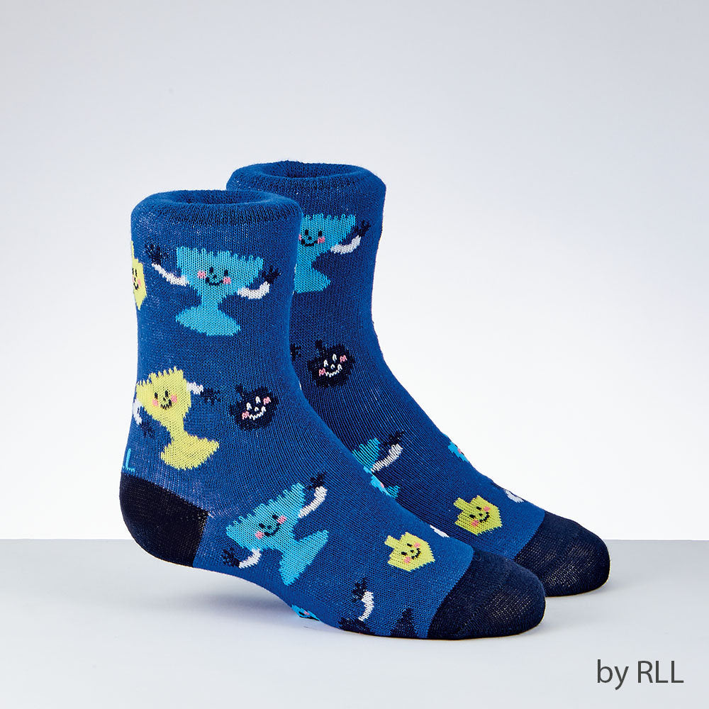 Blue socks with navy toe and heel and animated light blue and yellow menorahs