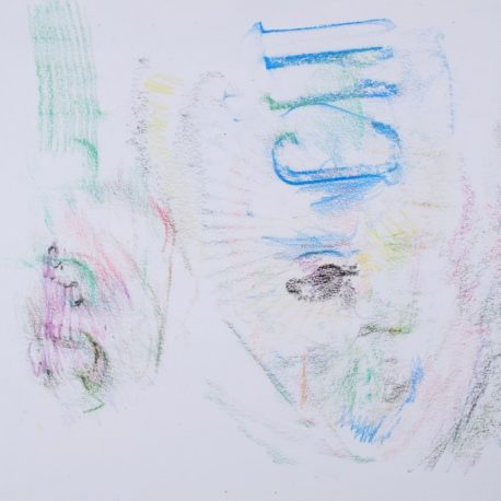 A series of light colorful rubbings on paper