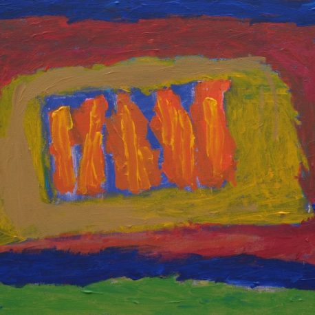 Acrylic on canvas artwork depicting blue, red and green background with a yellow rectangle and orange vertical stripes in the middle