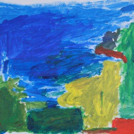 Acrylic on paper color block artwork with blue, green, yellow and red