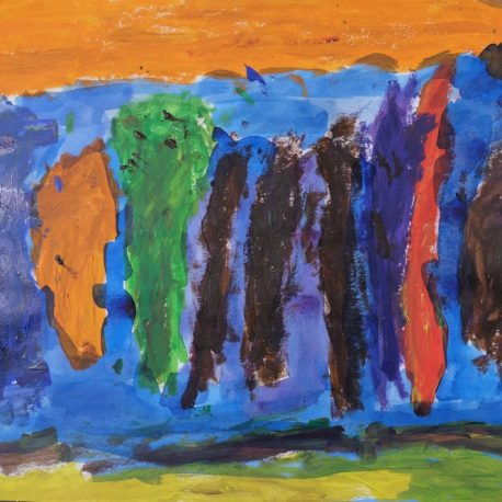 Acrylic on paper artwork with orange, green, brown, purple and red vertical paint streaks against an orange, light blue and yellow/green background