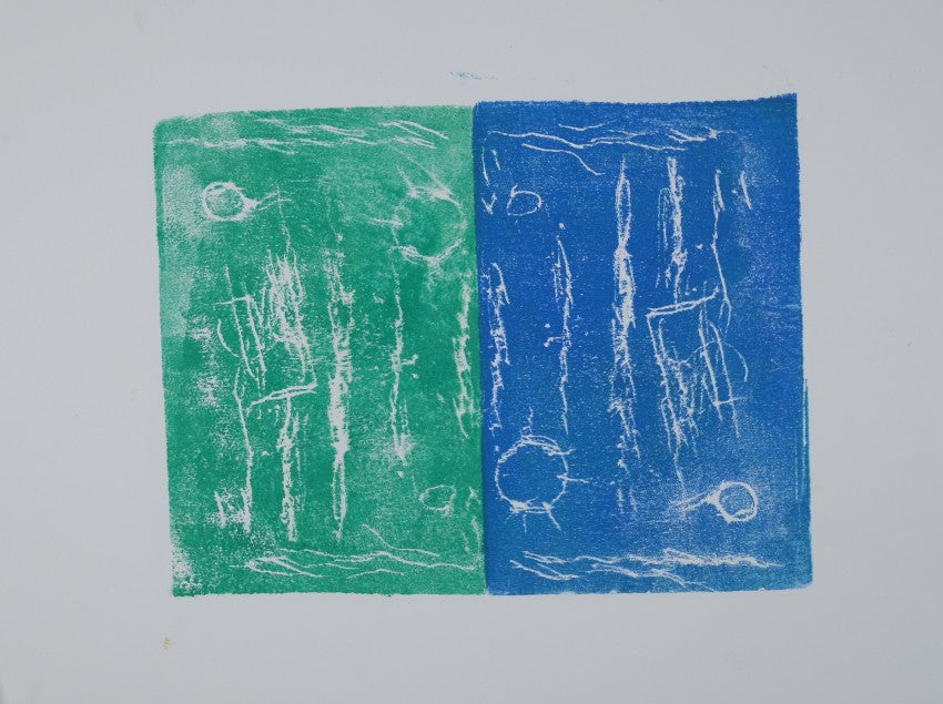 Ink on paper artwork with a large light green rectangle on the left and a large blue rectangle on the right with small white lines, circles and suns over both