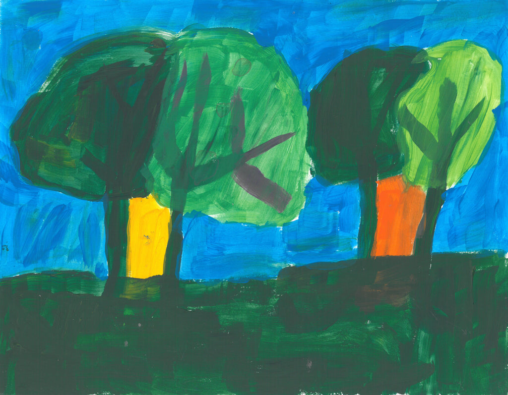 Two pairs of trees with overlapping foliage, the left side is a darker green than its companion to the left. The foliage is painted more transparent to be able to see the branches of the trees. In between the pair of tree trunks are  yellow (for the first pair to the left) and orange (for the second pair to the right). This scene is painted on a background of light blue sky and a dark green grass.