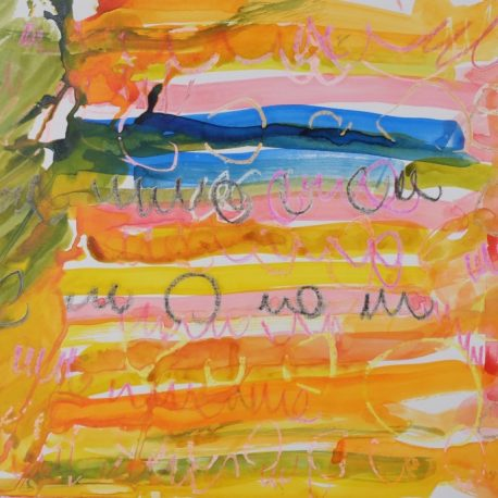 Ink and wax on paper artwork depicting horizontal yellow, orange, blue and green lines