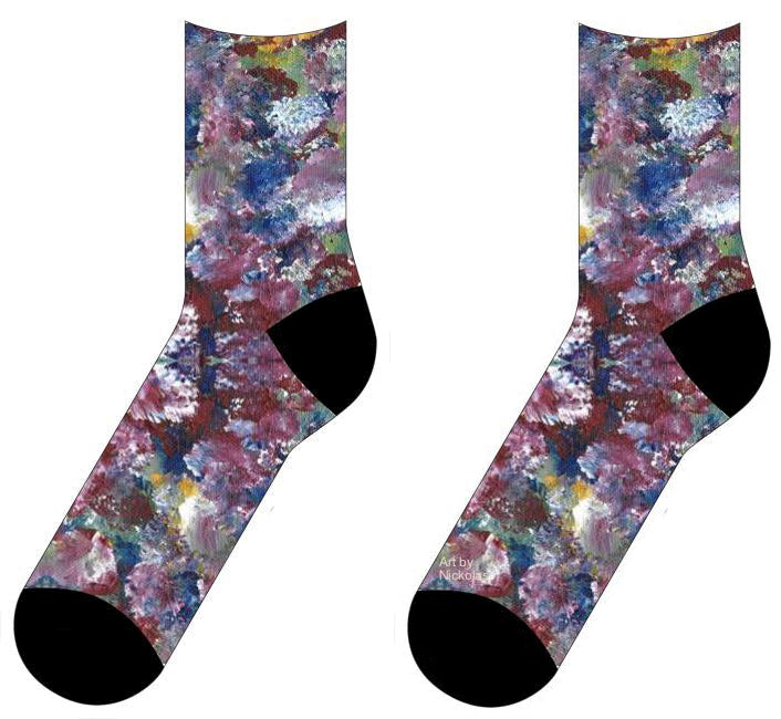 socks with a design of maroon, white, blue and green
