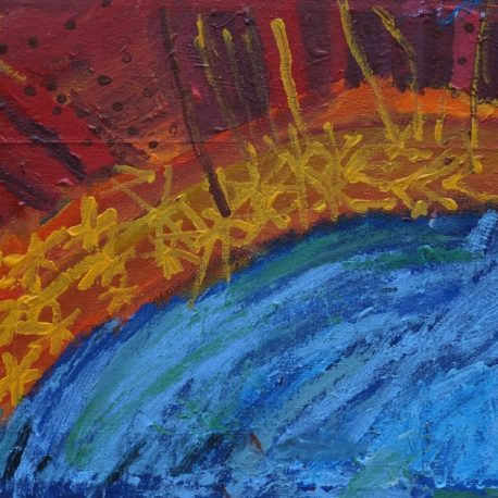 Acrylic on canvas artwork with a red, orange and yellow sky over a blue body of water