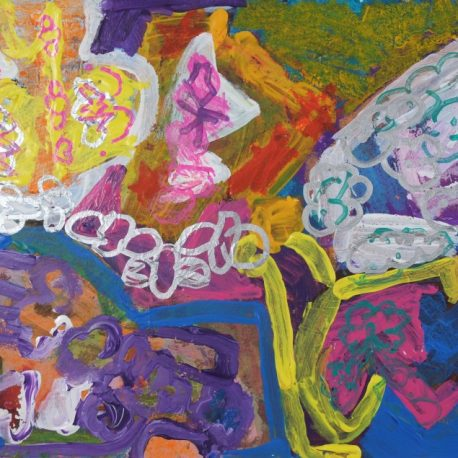 Acrylic on paper artwork with yellow, purple, pink, white and blue butterfly and flower shapes