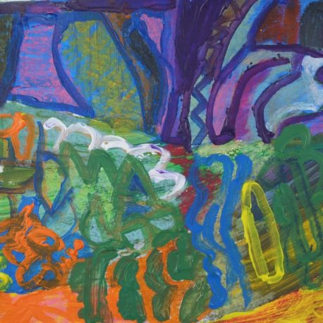 Acrylic on paper artwork depicting an abstract garden with blue, purple, orange, green, yellow and blue flower shapes