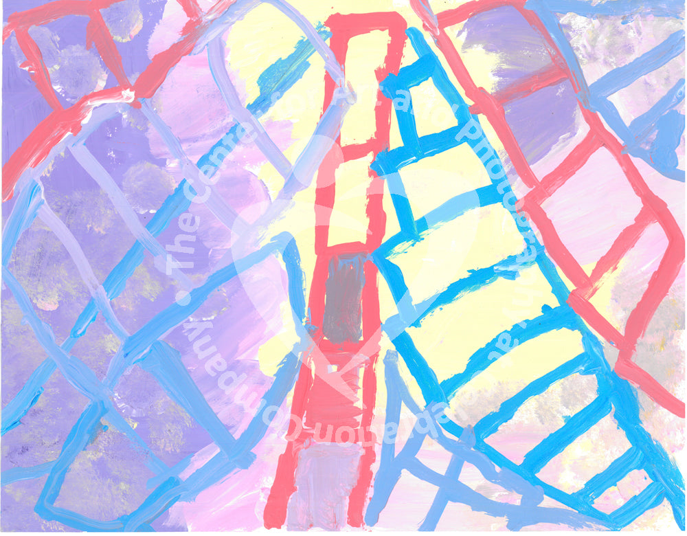 Acrylic on paper artwork with a lavender and yellow background with red, purple and blue ladders pointing upwards