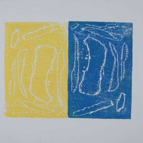 Ink on paper artwork depicting a large yellow rectangle with white shapes on the left and a large blue rectangle with white shapes on the right