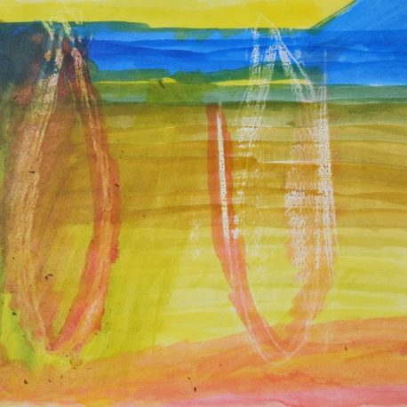 Ink and wax on paper artwork with yellow, blue, orange and red striated background with vertical orange ovals