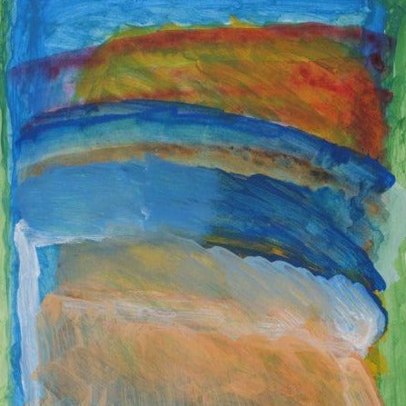 Acrylic on paper artwork inspired by falling water with horizontal light green lines on top and bottom and vertical lines of light orange, blue and a hint of red, orange and yellow