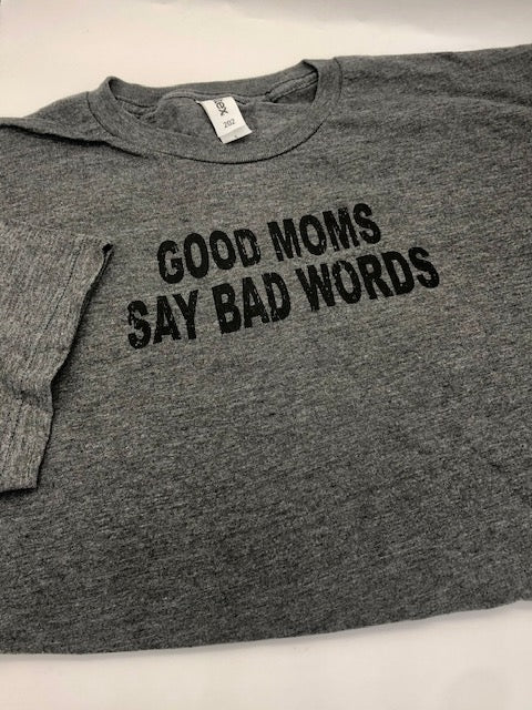 grey t-shirt with black wording