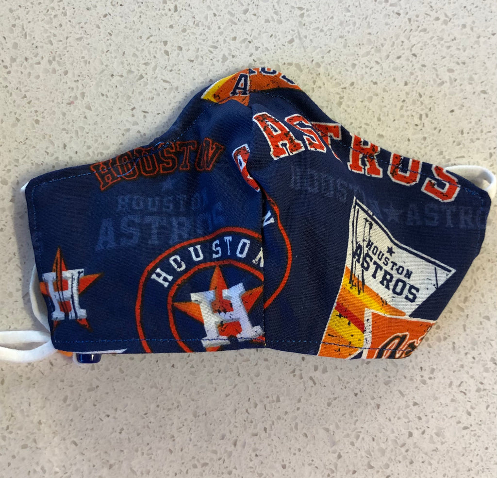 Orange Asros logo on Astros blue background.  Also the Astros pennant in white and orange on some.