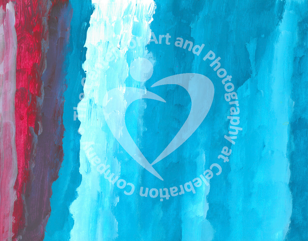 Close up view of Red, light blue and dark blue gradient design
