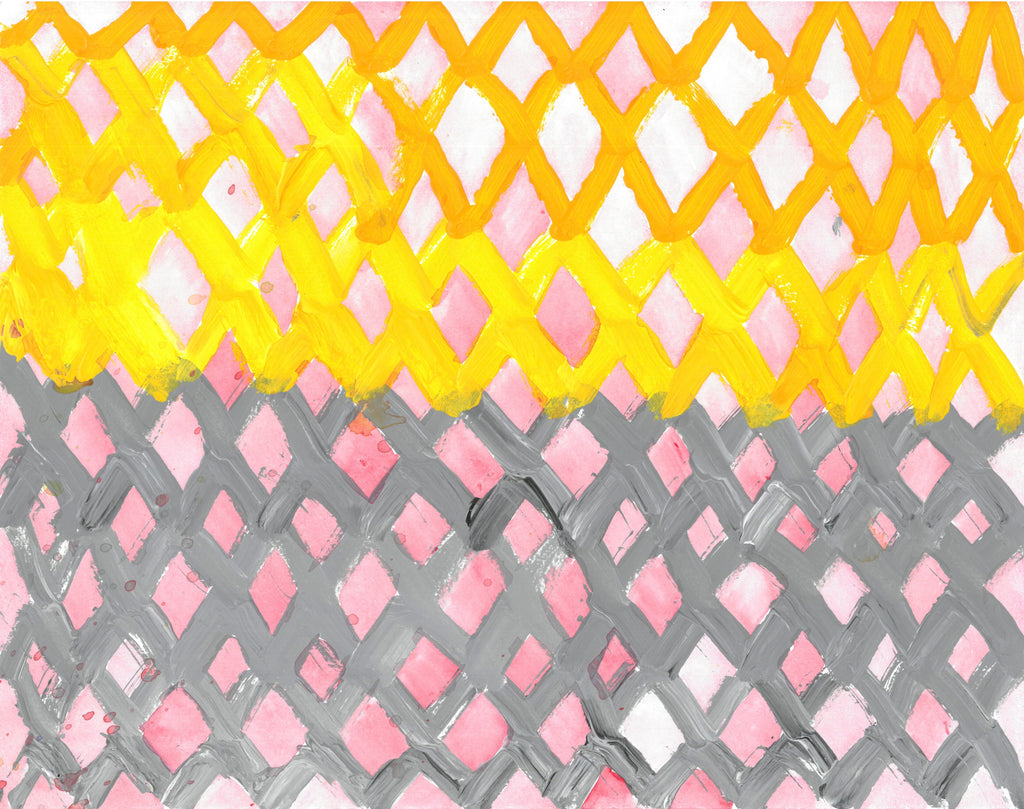 Painting of lattice work. The three top rows yellow and the three rows underneath gray. In between the lattice is a light wash of red