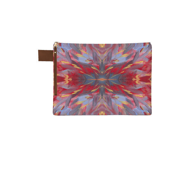 Large zipper pouch with leather pull tab. Image is of feathered yellow, red, and blue lines radiating from the center
