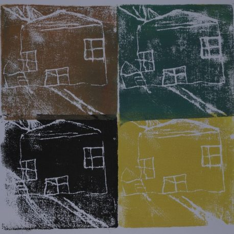 Ink on paper artwork with brown block and white house in top left corner, black box and white house in bottom left corner, green block and white house in top right corner and yellow block and white house in bottom right corner