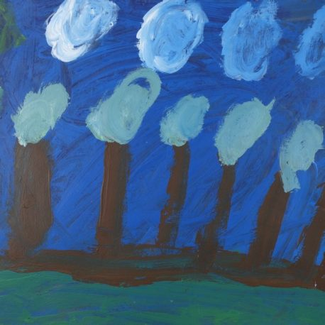 Acrylic on paper artwork depicting dark blue background with white clouds, green grass, brown and light green trees