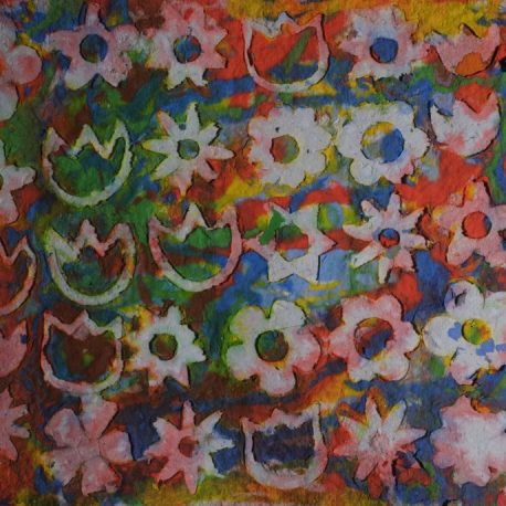 Pigment on handmade recycled paper artwork depicting yellow, green, yellow and orange background with various white flower shapes