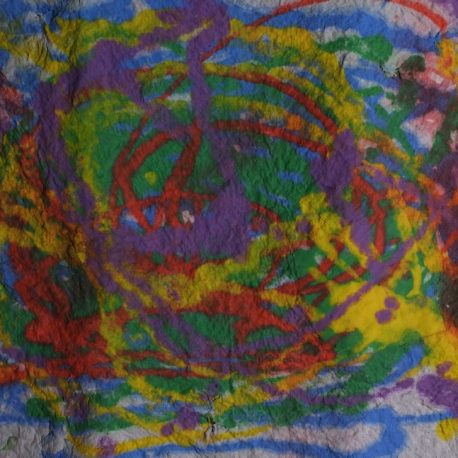 Pigment on recycled paper artwork depicting blue, green, yellow, red and green swirls