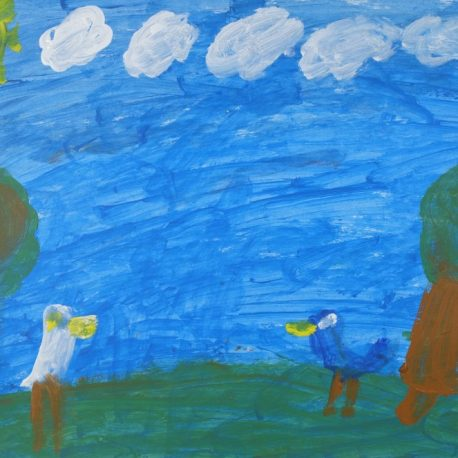 Acrylic on paper artwork with a blue sky, white clouds, green grass and a white and blue bird with yellow beaks in the foreground