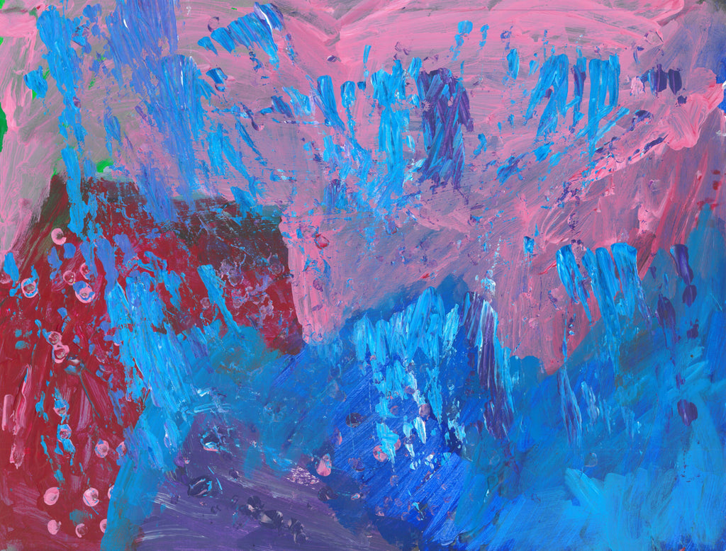 Short brush strokes of light blue against a background of pink, blue, purple, and red. Small dots of pink in the lower left corner
