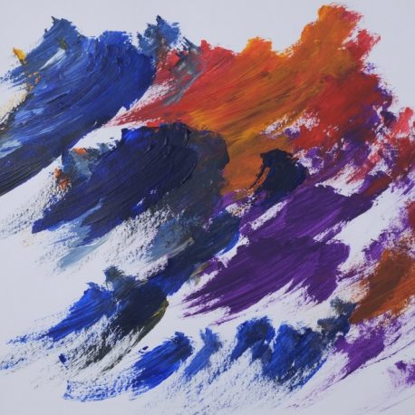 Acrylic on paper artwork with a white background with sparse, large strokes of blue, red, orange and purple