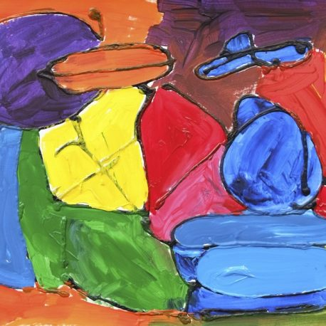 Acrylic on paper Abstract Artwork depicting various colored shapes in purple, orange, yellow, green, red and blue outlined in black