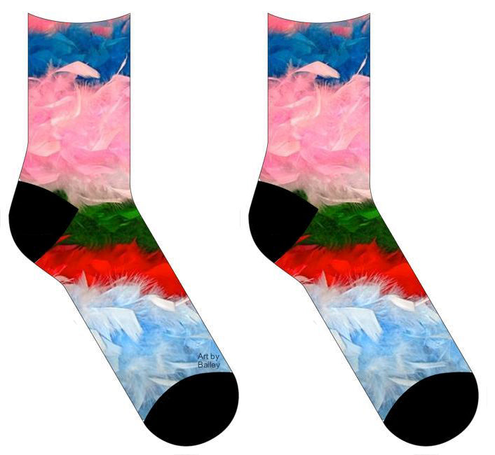 Socks with horizontal stripes of colored feathers- blue, pink, green, red