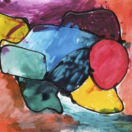 Acrylic and ink on paper abstract artwork with purple, yellow, blue, green, red, yellow and orange shapes outlined in black