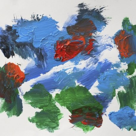 Acrylic on paper artwork with dark blue, light blue, green and red paint dabs