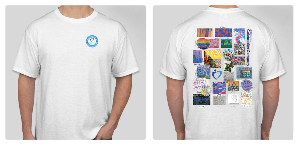 split screen of a white t-shirt- one is front of shirt with  a round blue logo over the upper left side; other screen is back of shirt with a grid of pictures featuring parts of art pieces with the artist's signatures next to them