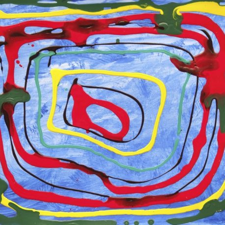 Acrylic on paper artwork with light blue background beneath green, yellow and red rectangles decreasing in size from outside in