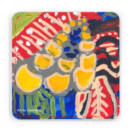 Beverage Coasters with artwork of Vibrant yellow-gold shapes on green vertical streaks suggest tulip-like flowers in a deep blue field bordered by a curving arc of orangish-red with tan stripes and white dots. At the upper left, beyond the orangish-red arc, is a triangle of leaf green.