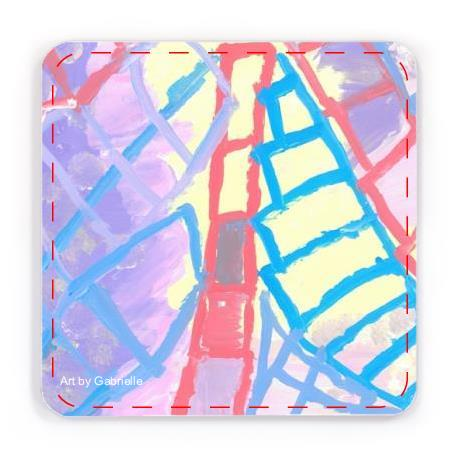 Coasters with design of Acrylic on paper artwork with a lavender and yellow background with red, purple and blue ladders pointing upwards