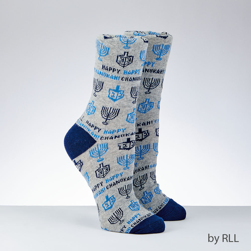 Gray crew socks with dark blue toe and heel with blue dreidels and menorah graphics along with Happy Chanukah slogan