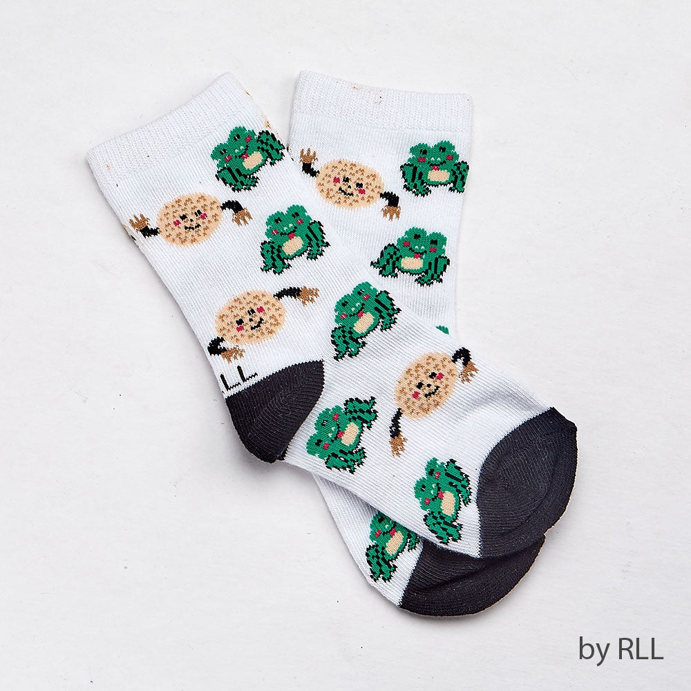 White socks with gray toe and heel and Matzah ball and green frog graphics