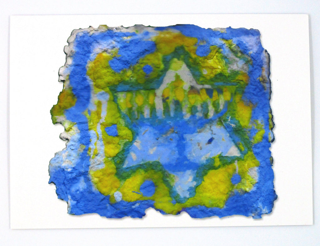 Graphic greeting card with white, blue and yellow background beneath white Jewish start and blue menorah