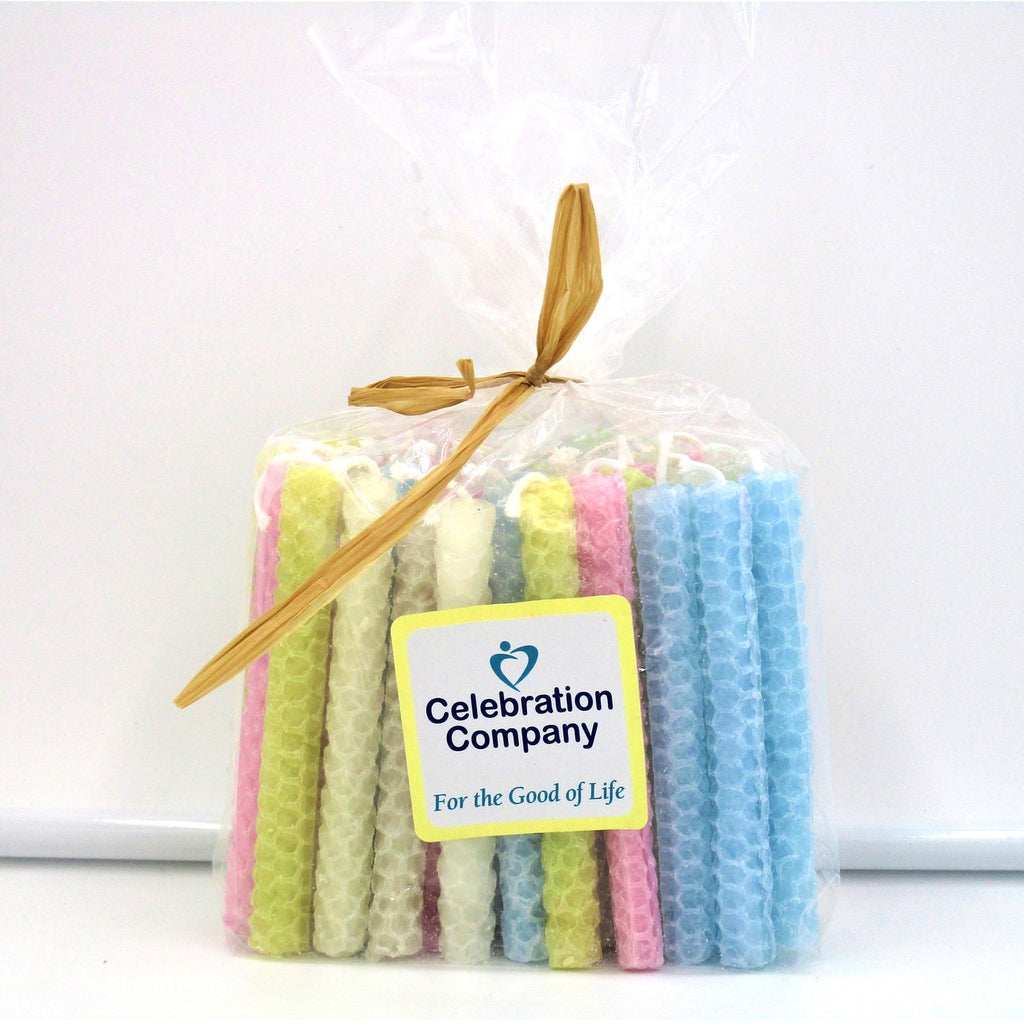Bundle of Light Blue, Chartreuse, Pink, Seafoam, and White candles