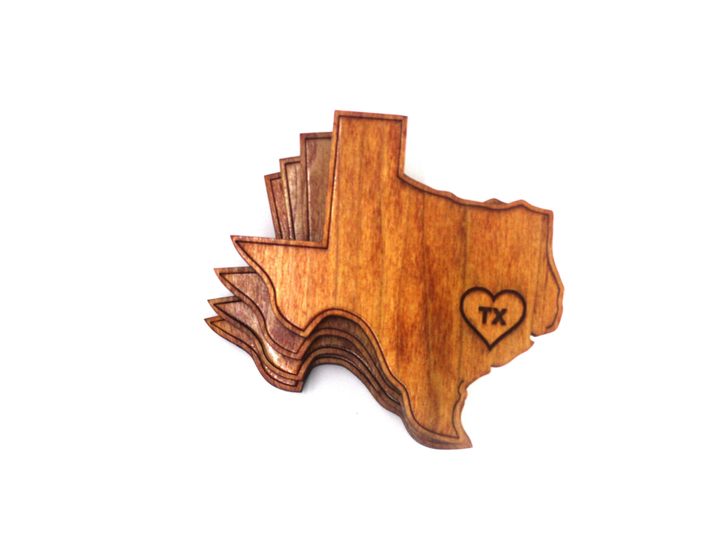 Texas shaped cherrywood coasters with laser cut heart and TX over Houston
