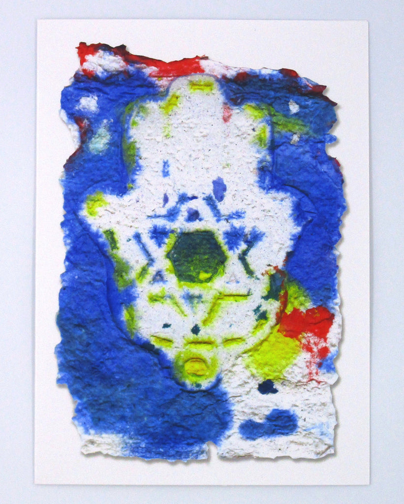 Graphic greeting card with blue and red background with a white Hamsa and Jewish star in the center