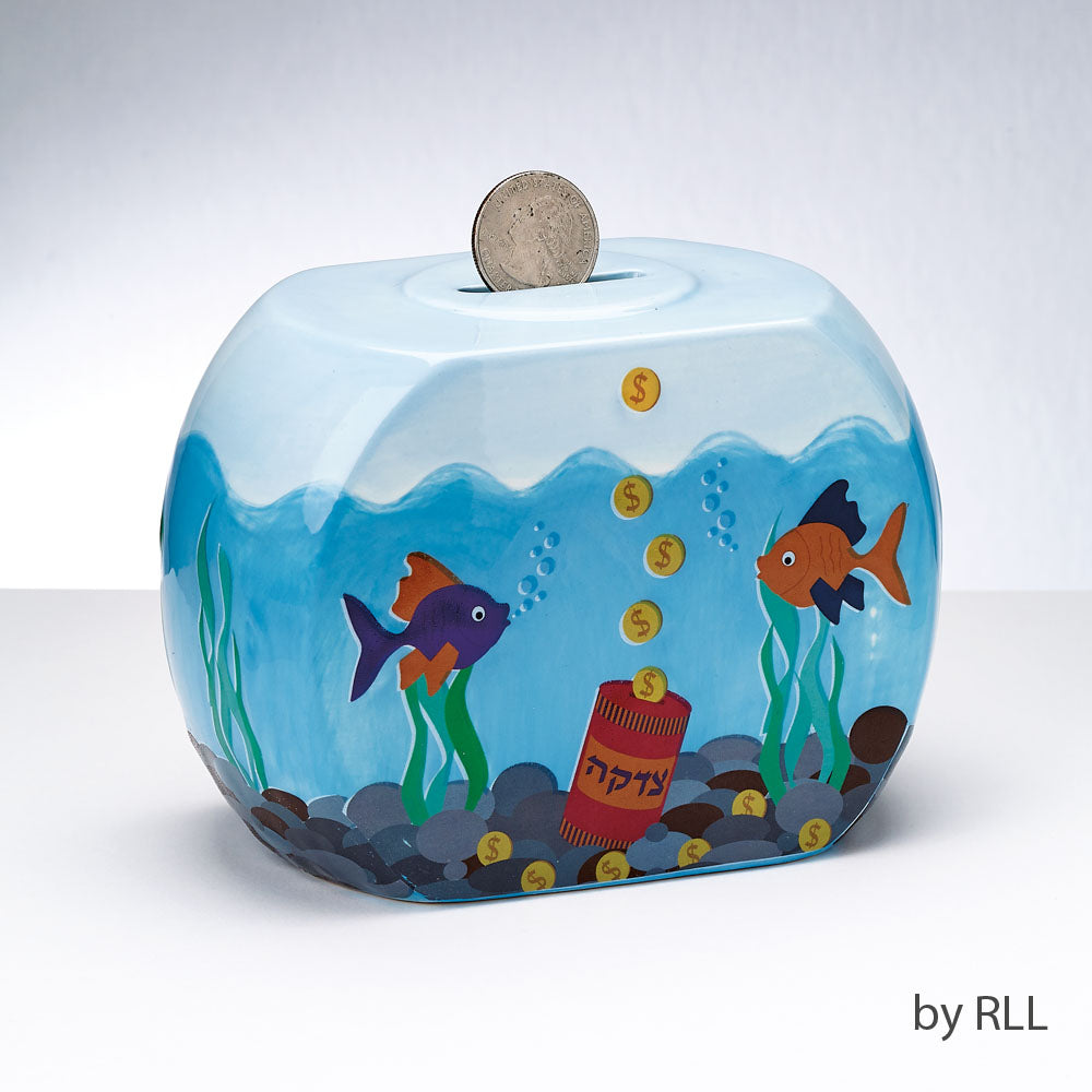 Tzedakah box with two goldfish in a fish bowl with green seaweed and gold coins