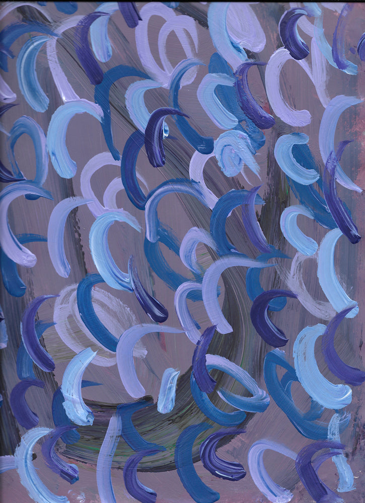 Abstract design of gray with light blue, dark blue, and lavender swirls.