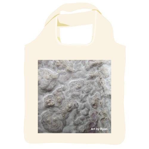 "Reusable shopping bag, 16""x16""x4.5"" with a squared image on both sides of the bag. The image is of an off white, bubbly textured surface"