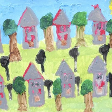 Acrylic on paper artwork with green lawn, blue skies, trees, and rows of gray and red houses