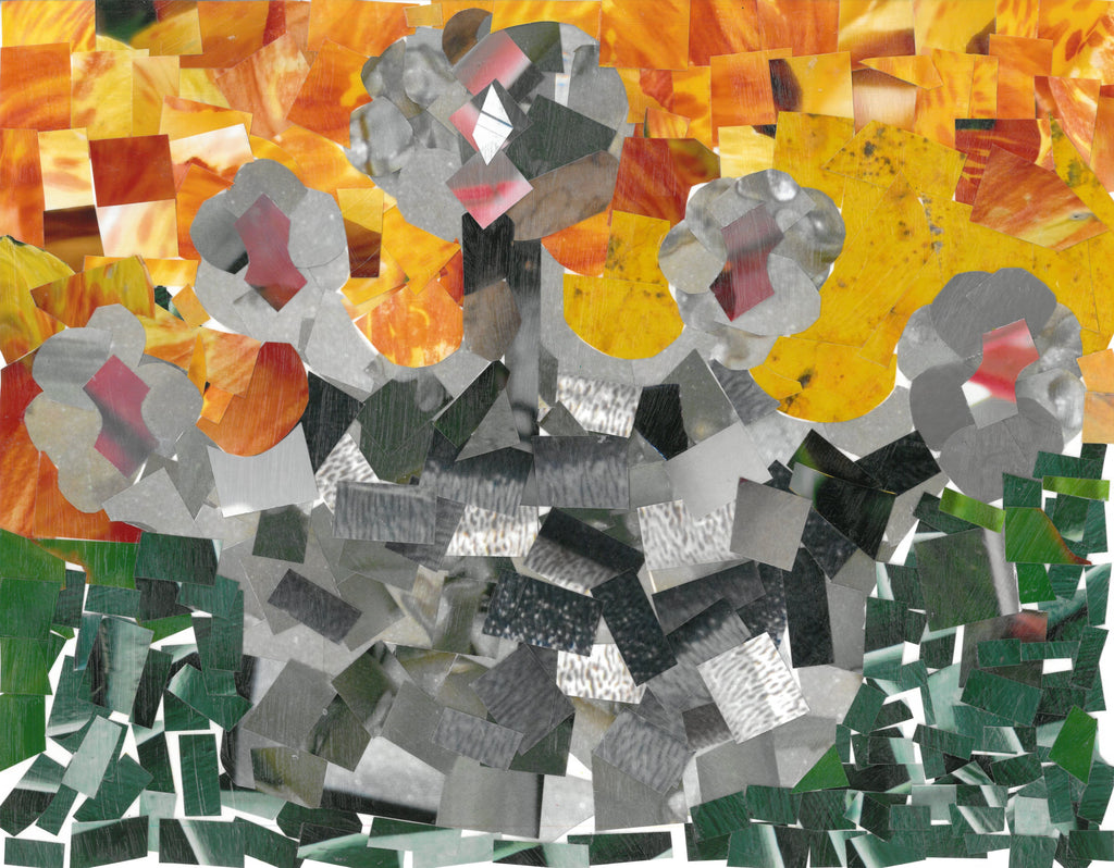 Collage made of square shaped cut photographs. In the center is a gray mass, with gray flowers protruding at the top. The center of the flowers are a flesh color. The background of the flowers is collaged yellows and oranges on the top half, underneath are shades of green.